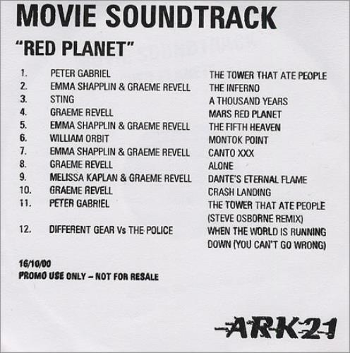 Original Soundtrack Red Planet CD-R acetate UK OSTCRRE172590