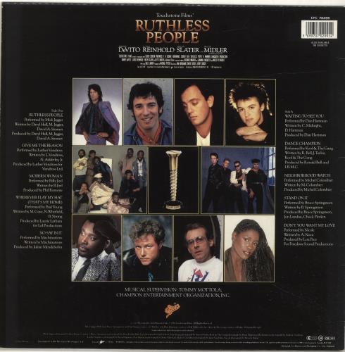 Original Soundtrack Ruthless People Uk Vinyl Lp Album Lp