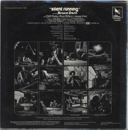 Original Soundtrack Silent Running vinyl LP album (LP record) US OSTLPSI728442