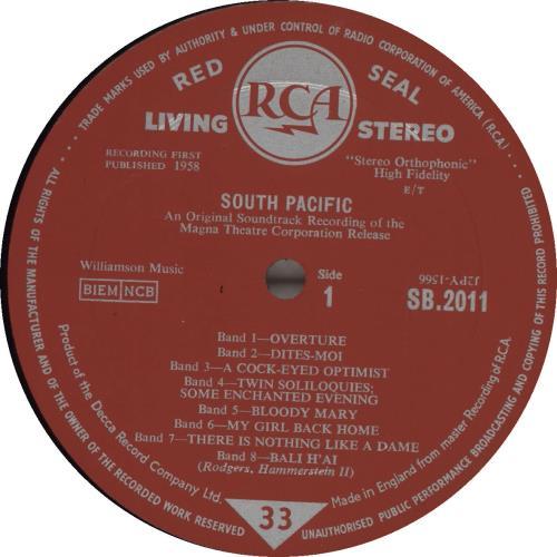 Original Soundtrack South Pacific - 1st vinyl LP album (LP record) UK OSTLPSO563426