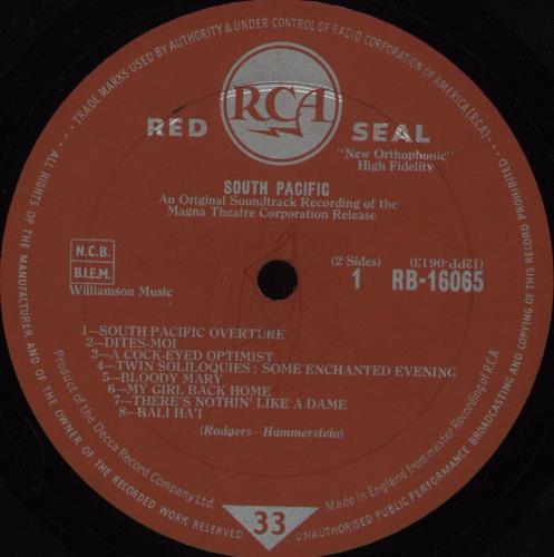 Original Soundtrack South Pacific - 1st vinyl LP album (LP record) UK OSTLPSO676673