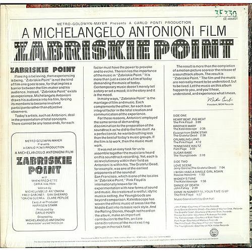 Original Soundtrack Zabriskie Point vinyl LP album (LP record) US OSTLPZA74580