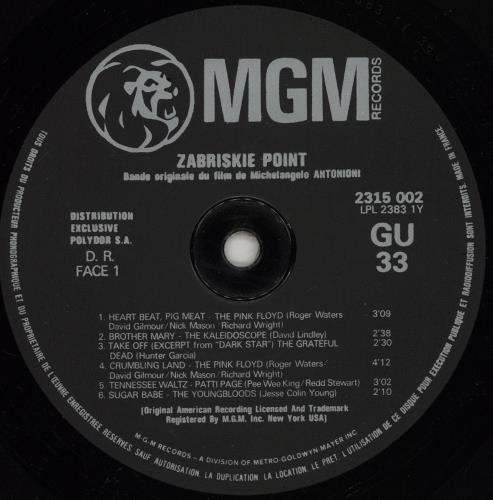 Original Soundtrack Zabriskie Point vinyl LP album (LP record) French OSTLPZA751951