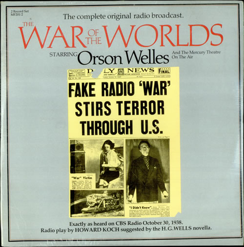 Orson Welles The War Of The Worlds - Sealed 2-LP vinyl record set (Double Album) US OS92LTH516554