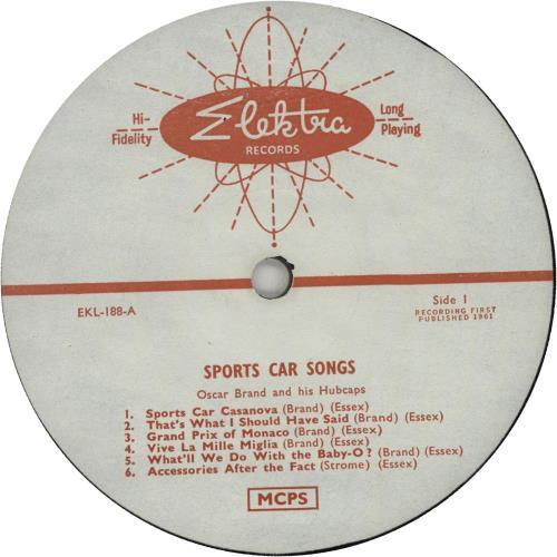 Oscar Brand Sports Car Songs (For Big Wheels) vinyl LP album (LP record) UK OVVLPSP647647