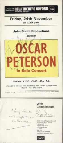 Oscar Peterson 24th November - New Theatre Oxford - Autographed handbill UK OP1HBTH749406