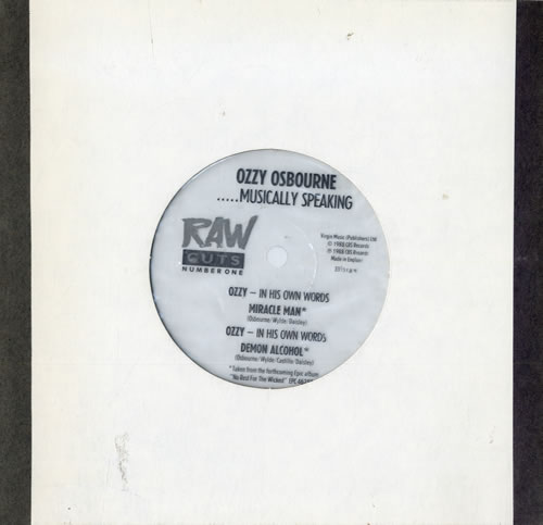 "Ozzy Osbourne ... Musically Speaking - Raw Flexi 7"" vinyl single (7 inch record) UK OZZ07MU111510"