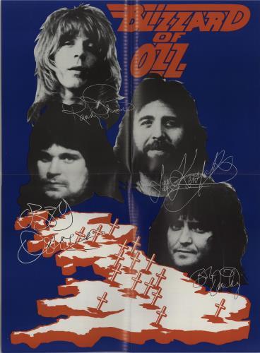 Ozzy Osbourne Blizzard Of Ozz Colour Poster Uk Tour