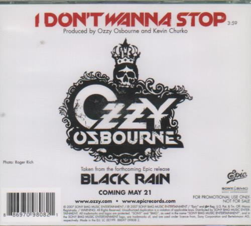 "Ozzy Osbourne I Don't Wanna Stop CD single (CD5 / 5"") UK OZZC5ID675644"