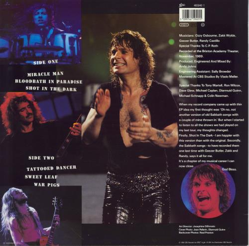 "Ozzy Osbourne Just Say Ozzy - EX 12"" vinyl single (12 inch record / Maxi-single) UK OZZ12JU767154"