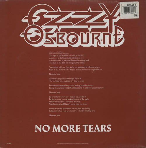 """Ozzy Osbourne No More Tears + insert 12"""" vinyl picture disc 12inch picture disc record UK OZZ2PNO00972"""