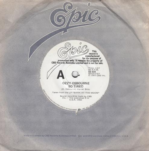 """Ozzy Osbourne So Tired 7"""" vinyl single (7 inch record) Australian OZZ07SO659318"""