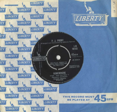 "P. J. Proby Somewhere 7"" vinyl single (7 inch record) UK PJP07SO504395"