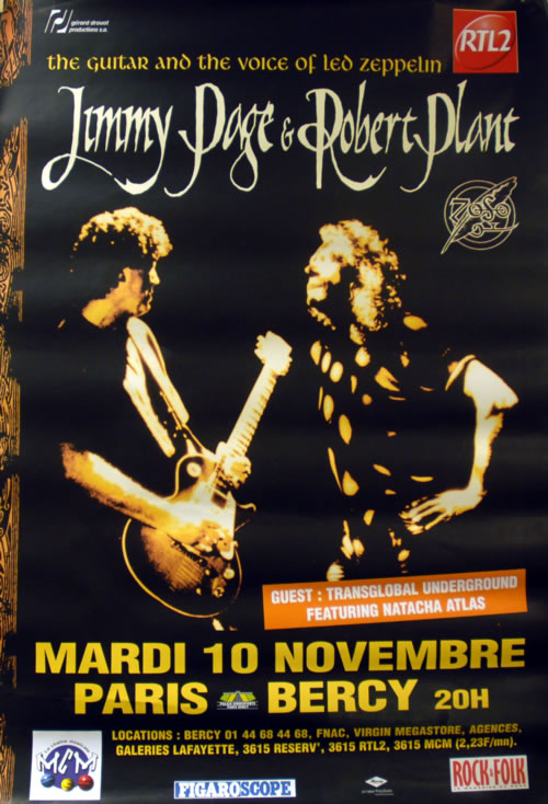 Page & Plant Live In Paris 1998 poster French P&PPOLI615400