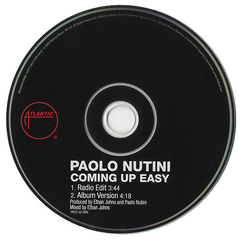 "Paolo Nutini Coming Up Easy CD single (CD5 / 5"") US PNIC5CO482114"