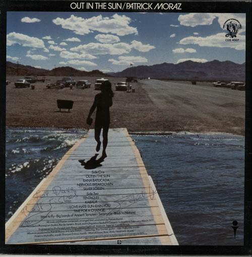 Patrick Moraz Out In The Sun - Autographed vinyl LP album (LP record) UK ZMPLPOU582276