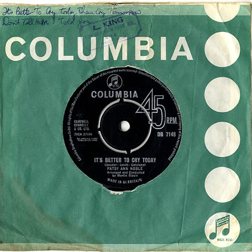 """Patsy Ann Noble It's Better To Cry Today 7"""" vinyl single (7 inch record) UK PN307IT619532"""