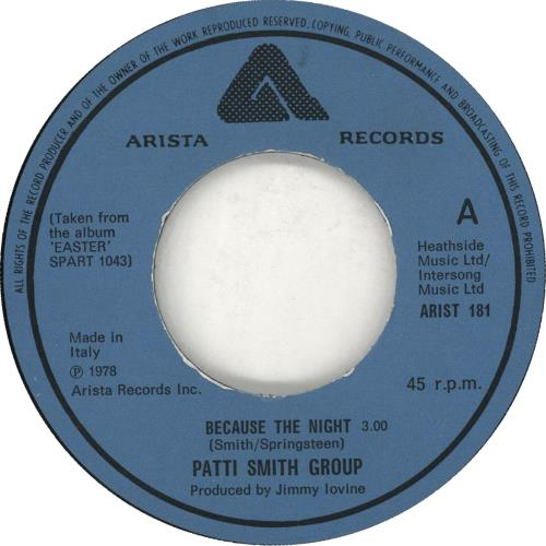 "Patti Smith Because The Night 7"" vinyl single (7 inch record) Italian PTI07BE709655"