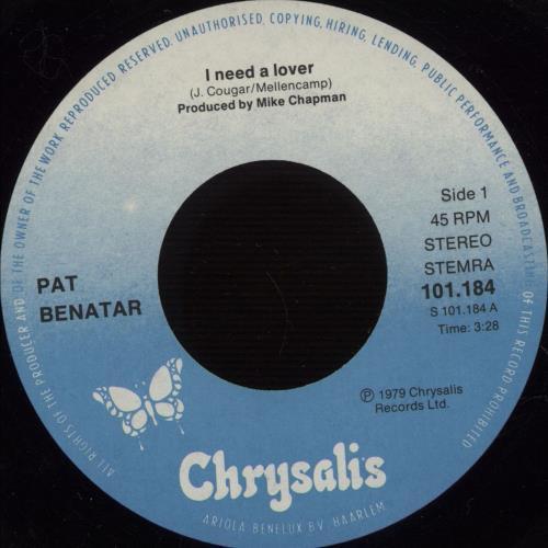 "Pat Benatar I Need A Lover - Blue & White Labels 7"" vinyl single (7 inch record) Dutch BEN07IN666462"