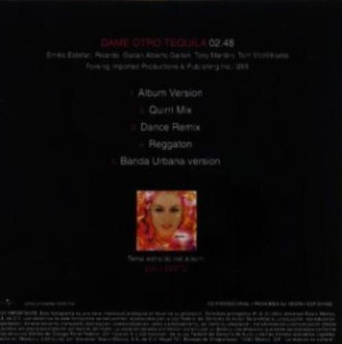 "Paulina Rubio Dame Otro Tequila CD single (CD5 / 5"") Mexican PNAC5DA309369"