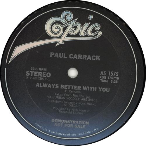 "Paul Carrack Always Better With You - Gold Stamped Sleeve 12"" vinyl single (12 inch record / Maxi-single) UK PCA12AL693109"