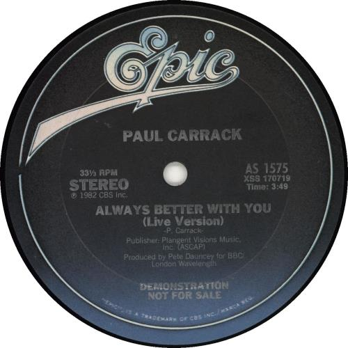 """Paul Carrack Always Better With You - Gold Stamped Sleeve 12"""" vinyl single (12 inch record / Maxi-single) UK PCA12AL693109"""