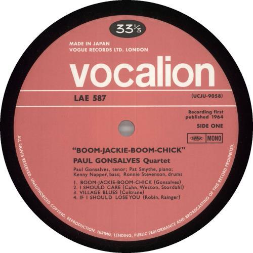 Paul Gonsalves Boom-Jackie-Boom-Chick - 200gm vinyl LP album (LP record) Japanese PGNLPBO475170