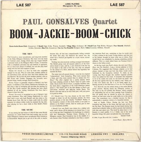 Paul Gonsalves Boom-Jackie-Boom-Chick vinyl LP album (LP record) UK PGNLPBO442330