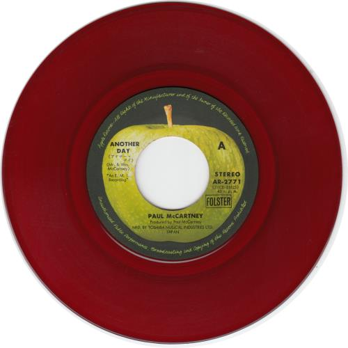 """Paul McCartney and Wings Another Day - Red vinyl 7"""" vinyl single (7 inch record) Japanese MCC07AN578790"""
