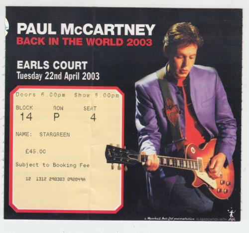 Paul McCartney and Wings Back In The World + Ticket Stub tour programme UK MCCTRBA383710