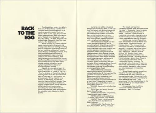 Paul McCartney and Wings Back To The Egg press book UK MCCPBBA370761