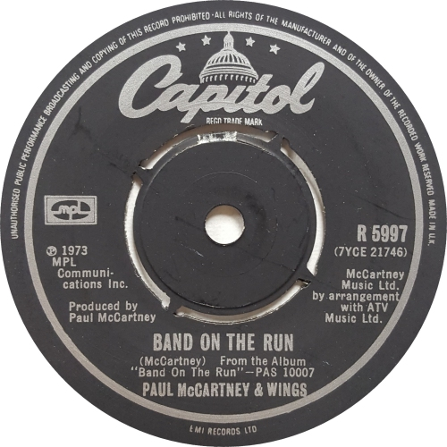 "Paul McCartney and Wings Band On The Run - 2nd 7"" vinyl single (7 inch record) UK MCC07BA401534"