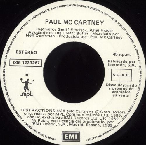 "Paul McCartney and Wings Distractions 7"" vinyl single (7 inch record) Spanish MCC07DI727414"