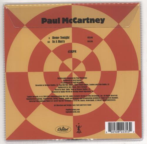 """Paul McCartney and Wings Home Tonight / In A Hurry - RSD BF19 7"""" vinyl picture disc 7 inch picture disc single UK MCC7PHO734480"""