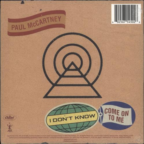 "Paul McCartney and Wings I Don't Know / Come On To Me - RSD BF18 7"" vinyl single (7 inch record) UK MCC07ID708663"