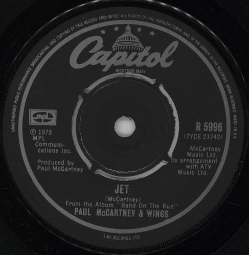 "Paul McCartney and Wings Jet - 2nd 7"" vinyl single (7 inch record) UK MCC07JE520458"