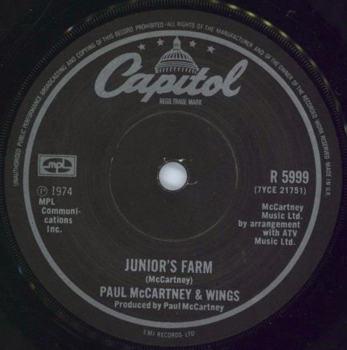 "Paul McCartney and Wings Junior's Farm - 2nd - Solid 7"" vinyl single (7 inch record) UK MCC07JU773311"