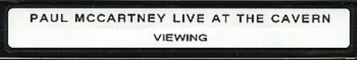 Paul McCartney and Wings Live At The Cavern - timecoded viewing copy video (VHS or PAL or NTSC) UK MCCVILI200170