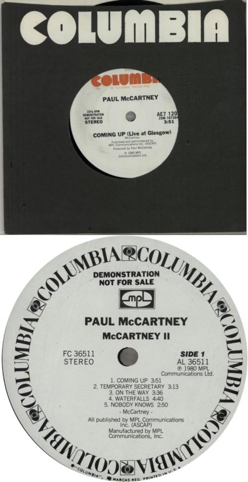 "Paul McCartney and Wings McCartney II + 7"" vinyl LP album (LP record) US MCCLPMC380441"