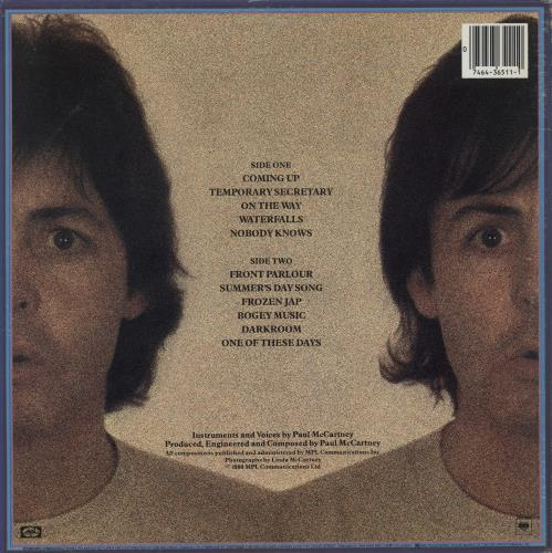 Paul McCartney and Wings Mccartney II vinyl LP album (LP record) Canadian MCCLPMC756403