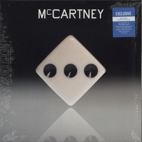 Paul McCartney and Wings McCartney III - Blue Vinyl vinyl LP album (LP record) UK MCCLPMC755157