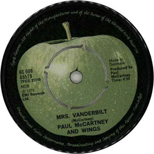 Paul McCartney and Wings Mrs  Vandebilt Danish 7