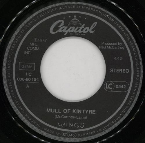 "Paul McCartney and Wings Mull Of Kintyre 7"" vinyl single (7 inch record) German MCC07MU755248"