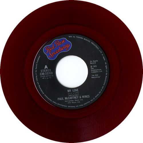 "Paul McCartney and Wings My Love - Red Vinyl 7"" vinyl single (7 inch record) Japanese MCC07MY323194"