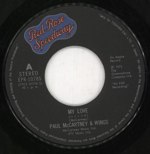 "Paul McCartney and Wings My Love 7"" vinyl single (7 inch record) Japanese MCC07MY729922"