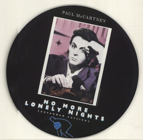 """Paul McCartney and Wings No More Lonely Nights 12"""" vinyl picture disc 12inch picture disc record UK MCC2PNO16251"""