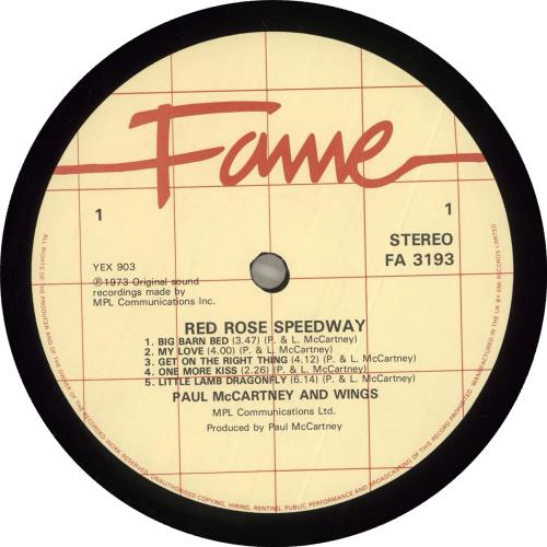 Paul McCartney and Wings Red Rose Speedway vinyl LP album (LP record) UK MCCLPRE590976
