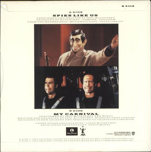 "Paul McCartney and Wings Spies Like Us 7"" vinyl single (7 inch record) UK MCC07SP519110"