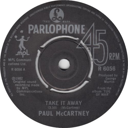 "Paul McCartney and Wings Take It Away - 4prong + P/S 7"" vinyl single (7 inch record) UK MCC07TA652719"