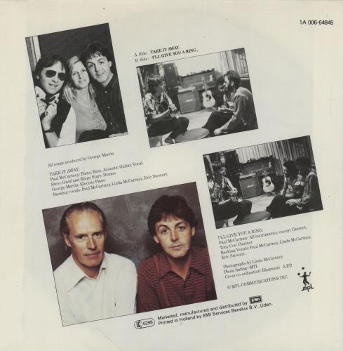 "Paul McCartney and Wings Take It Away 7"" vinyl single (7 inch record) Dutch MCC07TA755253"